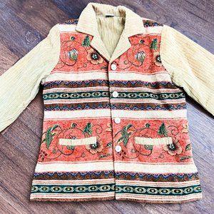Vintage Suede Floral Pattern Jacket